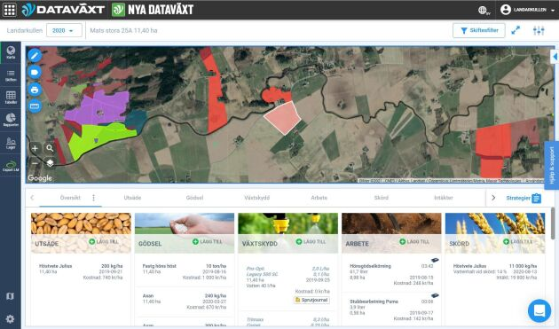 I inloggat läge är det lätt att få fram all fältdata genom att klicka på valfri åkerlapp. Här finns flikar för utsäde och växtskydd samlat med skördedata och mycket annat.