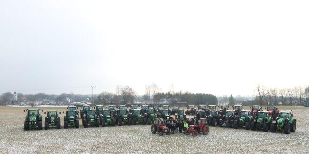 Segraeleverna bjuder på traktorparad