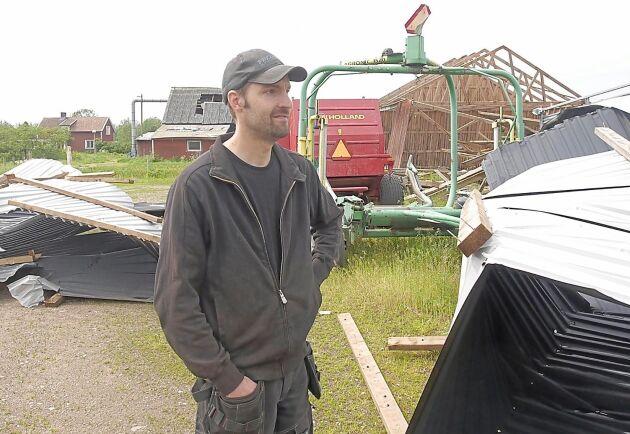 Fredrik Bjarnehall hade planerat att ha fåren i den numera nedblåsta maskinhallen.