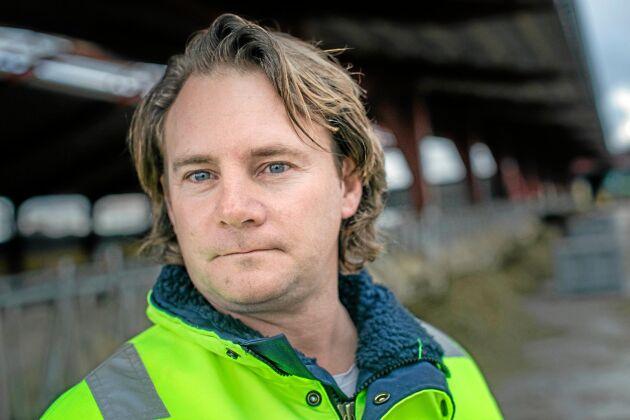 """""""Vi vill ha noll i klimatavtryck. Vi är rädda om jorden"""", säger Johan Tevell som också är ordförande för Gotlands ekologiska lantbrukare."""