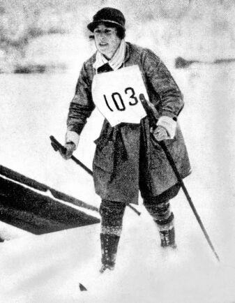 Margit Nordin, den första kvinnan som deltog i Vasaloppet.