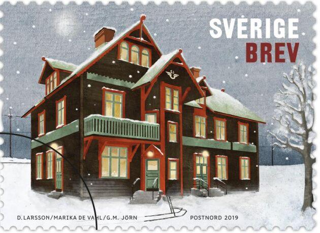 Frimärket med Jörns station som motiv.