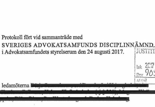 Det protokoll från Advokatsamfundets disciplinnämnd där ostkriget för första gången blev offentligt.