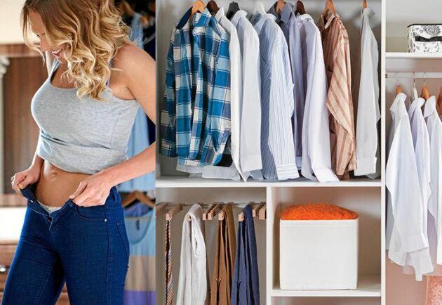 Rensa ut plagg som inte längre passar och ha kvar så få plagg som möjligt, sådana du verkligen gillar och använder.