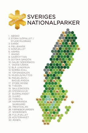 Karta över alla Sveriges nationalparker.