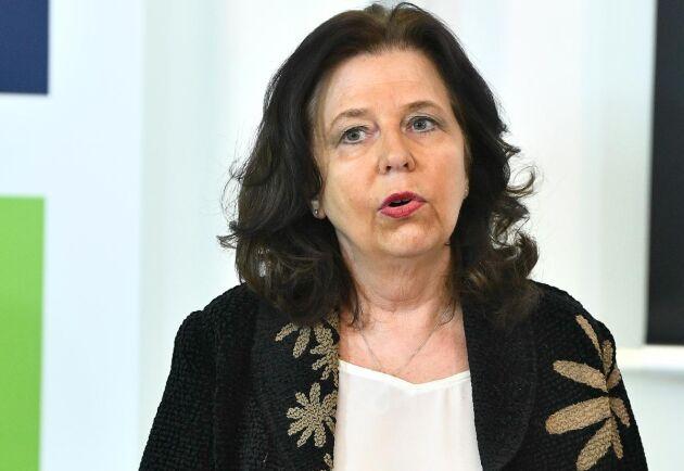 Arbetsförmedlingens generaldirektör Maria Mindhammar, under Arbetsförmedlingens pressträff i Stockholm.