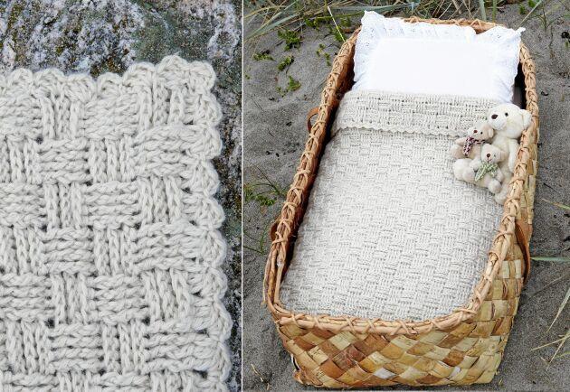Den lilla, mjuka filten har en mysig struktur och virkas i mjukt lama-garn.