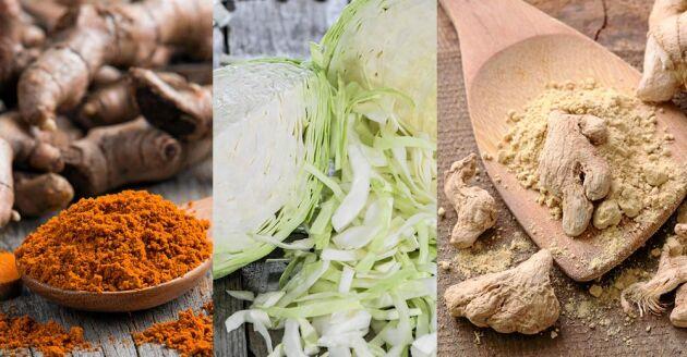 Gurkmeja, vitkål och ingefära är nyttigt var och en för sig. Tillsammans och fermenterat ökar hälsoeffekterna ytterligare. Fin smak är det också på den hälsosamma gyllenkålen.