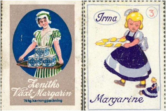 Reklammärke för Zeniths margarin från 1939 och för Irma Margarine från 1939.