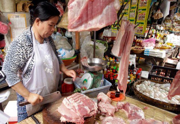 Köttimporten till Kina har ökat kraftigt till följd av att landets egen köttproduktion drabbats av svinpest. Arkivbild.