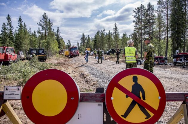 Skogsbrand under sommaren i skjutfältet i Trängslet i Dalarna.
