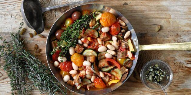 Bön- och grönsaksgryta med kapris och russin
