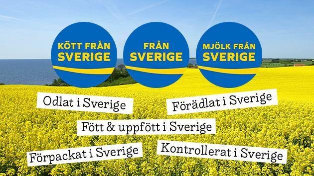 Från Sverige-märkningen visar att maten är odlad, förädlad och förpackad i Sverige.