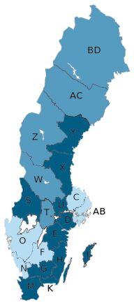 Ljusblått: 9,3 % Mellanblått: 9,4 - 11,4 % Mörkblått: 11,5 % eller mer