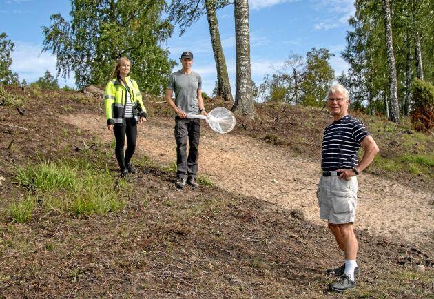 Åkerholmen har bränts för att gynna ängsvädd och skrapats för att sanden ska blottas så att bina kan gräva sina bon där. Tommy Karlsson inspekterar resultatet tillsammans med kommunekologen Marika Sjödin och markägaren Göran Lindvall.