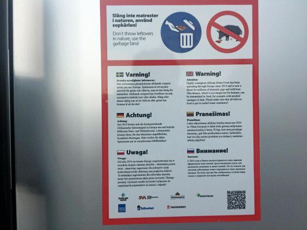 Med start i somras har Trafikverket satt upp information om afrikansk svinpest på de större rastplatserna i Sverige.