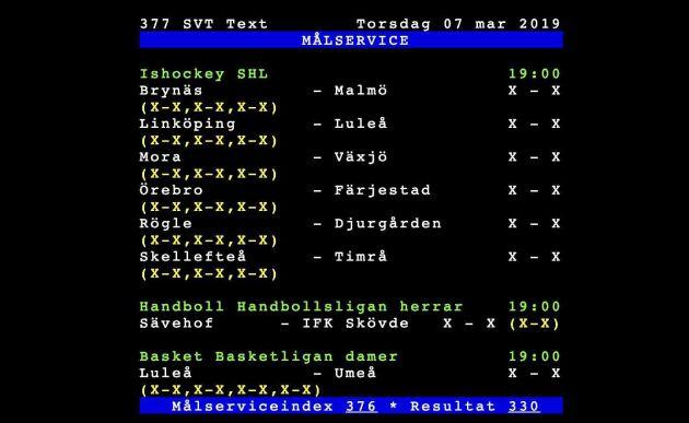 Sportresultaten är en viktig del av SVT Text.