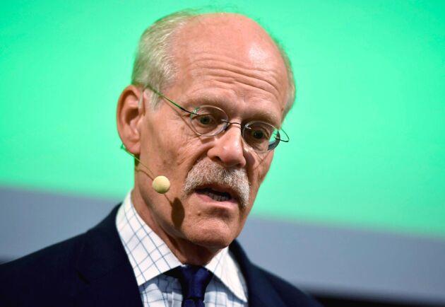Riksbankens chef Stefan Ingves håller pressträff med anledning av torsdagens räntebesked på kontoret i Stockholm.