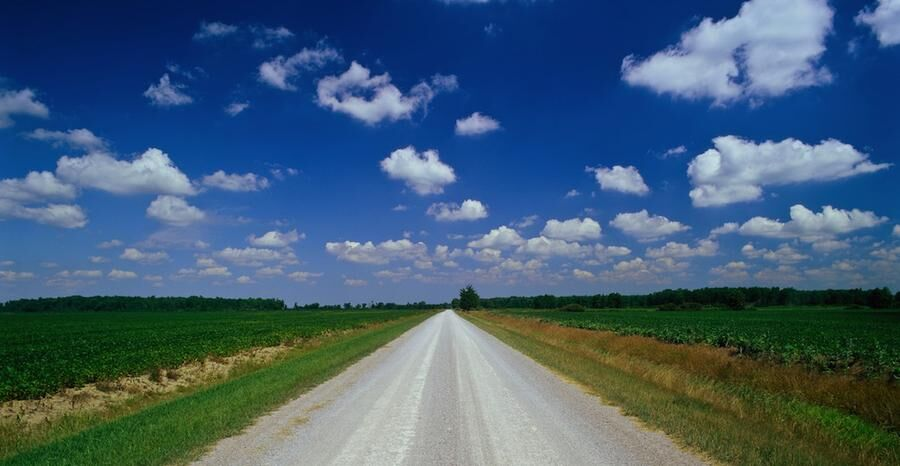 Straight flat country road near Sarnia Ontario Canada. Image shot 1999. Exact date unknown.