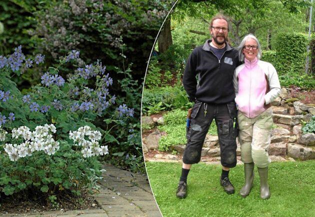"""Kristina och Per-Anders Olsson mitt i """"Arga landet"""", en trädgårdsdel som kom till i ilskan över dåligt väder."""