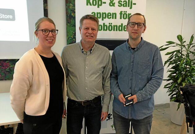Helena Friis, marknadskoordinator Ekologiska Lantbrukarna, Niels Andresen, föreningens verksamhetsledare, och systemutvecklare Oscar Franzén.