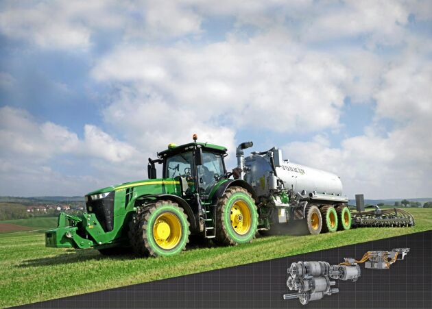 GULD: JD-eautopowr. John Deere e8WD är den första steglösa transmissionen med elektrisk moderering. Variolådans hydraulpumpar har ersatts med elmotorer. De delar dieselmotorns effekt i en mekanisk och en elektrisk del, det gör transmissionen steglös. Elmotorerna är även generatorer som levererar upp till 100 kW eleffekt. Via ett elektriskt kraftuttag kan den till exempel driva hjulmotorer. Joskin har utvecklat stallgödselspridare med två eldrivna axlar, därav namnet 8WD. El-varion har lägre energiförluster och bättre reglerbarhet än tidigare hydrostatiskt steglösa lådor.