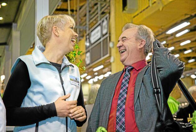 Framför allt är det mötena med medlemmar och beslutsfattare som Helena Jonsson ser tillbaka på. Här träffar hon landsbygdsminister Sven-Erik Bucht (S) på Elmia Lantbruk Maskin & Fält 2014.