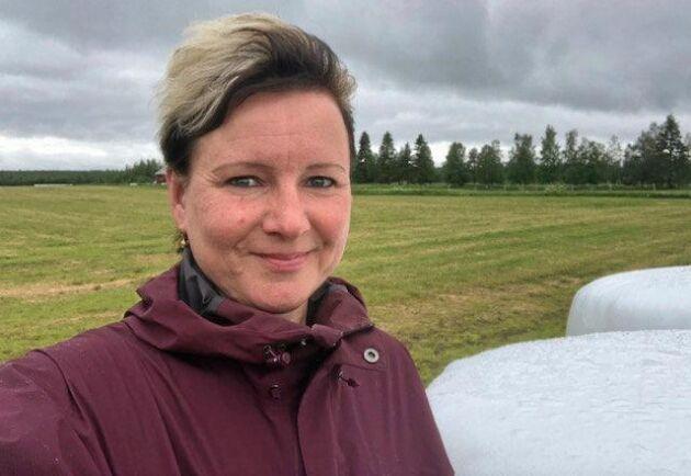 Elaine Björnfot odlar vall till sina egna renar och till andra renägare.