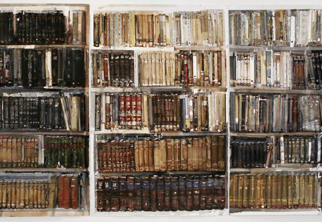 "Lars Lerins akvarellmålning ""Bibliotek""."