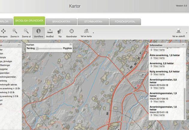 I Skogsstyrelsens karttjänster syns områden som är avverkningsanmälda, nyligen gjorda avverkningar samt äldre avverkningar för anmälningar gjorda de senaste fem åren.