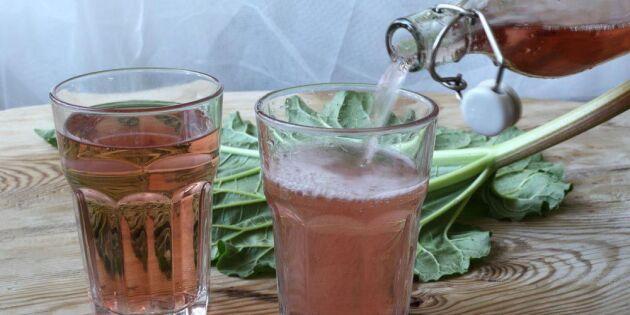 Sprudlande rabarber- och jordgubbssoda