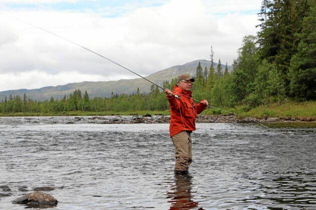 Lokale fiskeprofilen och fiskebloggaren Stig Torniainen lägger ut ett kast i Storån. Han har fiskat i Åretrakten sedan 1993.