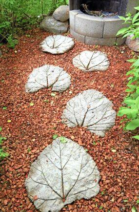 Platta blad som trampstenar i gräset.