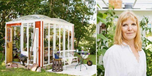Så byggde Annemarie ett växthus av återvunnet material