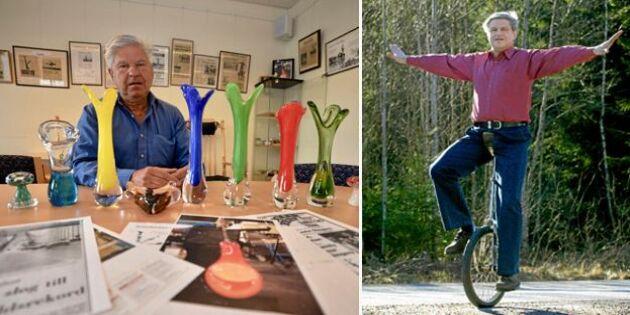 Rekordmannen Boda-Kurre blåste glas på enhjuling