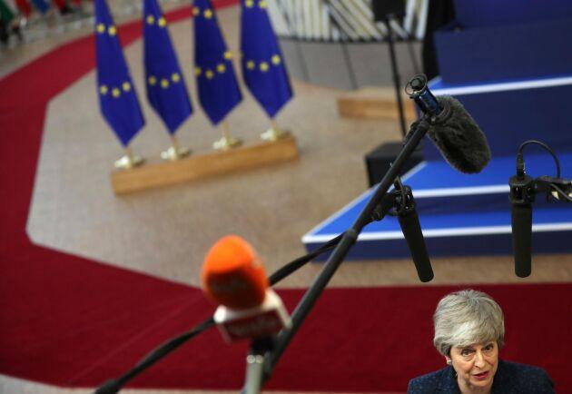 Storbritanniens premiärminister Theresa May före EU-toppmötet under torsdagen.