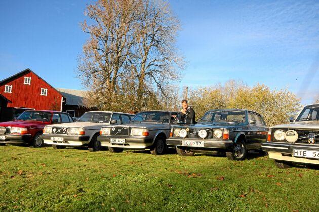 Fem av Henriks samlarbilar. Från vänster till höger: 244 GL, 1993 (röd), 245 GL, 1990 (vit kombi), 244 GLT, 1984 (silver), 244 L, 1977 (blå) och 244 DL, 1975 (vit).