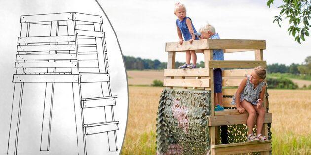 Mormor byggde jakttorn till barnen av överblivna spillbitar