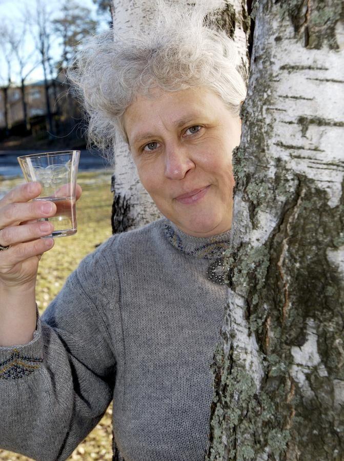 Petra Owaski Larsson kemist dricker björksav mot pollenallergi. Foto: Thomas Carlgren