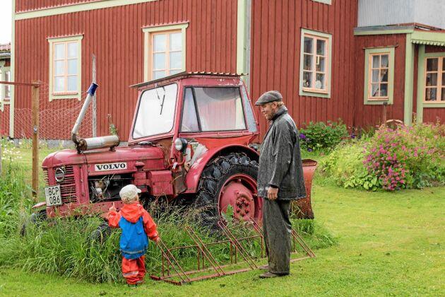 UNG PUBLIK. Valter gillar både blommor och smultron men en trasig traktor som trädgårdspynt slår ändå det mesta. Pappa ser ut att hålla med.